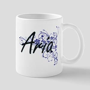 Aria Artistic Name Design with Flowers Mugs
