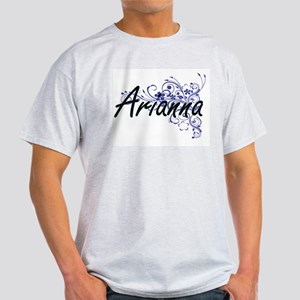 Arianna Artistic Name Design with Flowers T-Shirt