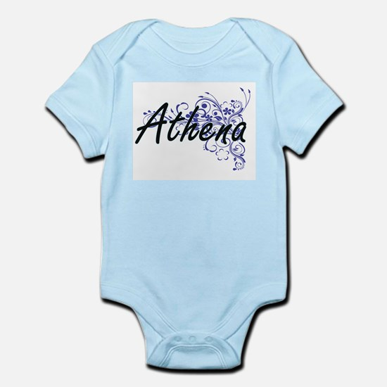 Athena Artistic Name Design with Flowers Body Suit