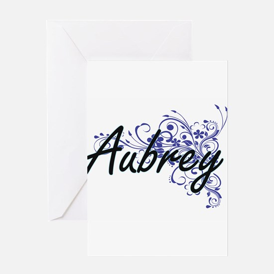Aubrey Artistic Name Design with Fl Greeting Cards