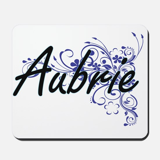 Aubrie Artistic Name Design with Flowers Mousepad