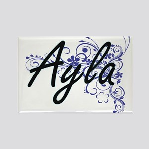 Ayla Artistic Name Design with Flowers Magnets