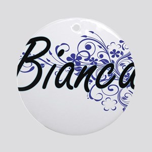 Bianca Artistic Name Design with Fl Round Ornament