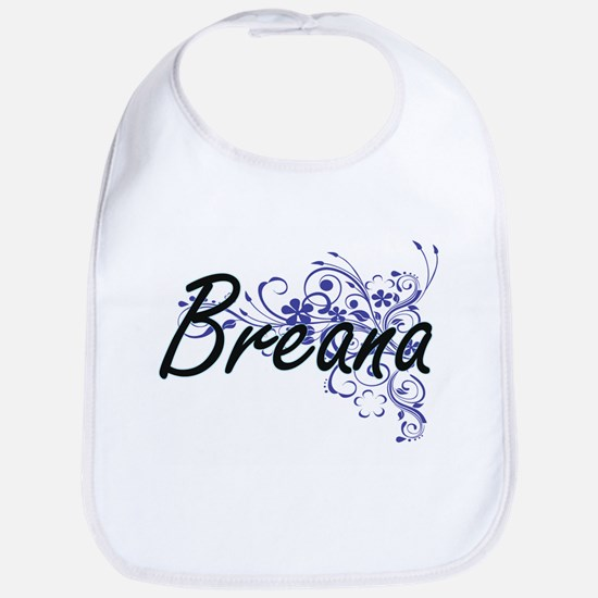 Breana Artistic Name Design with Flowers Bib