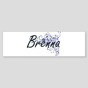Brenna Artistic Name Design with Fl Bumper Sticker
