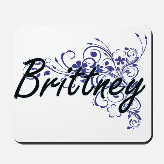 Brittney Artistic Name Design with Flowe Mousepad
