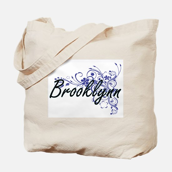Brooklynn Artistic Name Design with Flowe Tote Bag