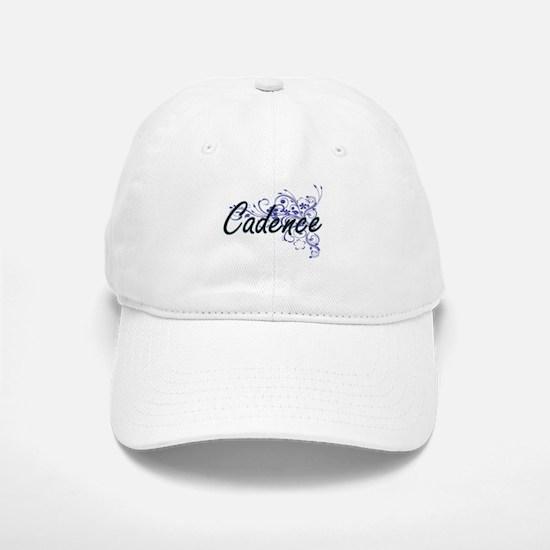 Cadence Artistic Name Design with Flowers Baseball Baseball Cap