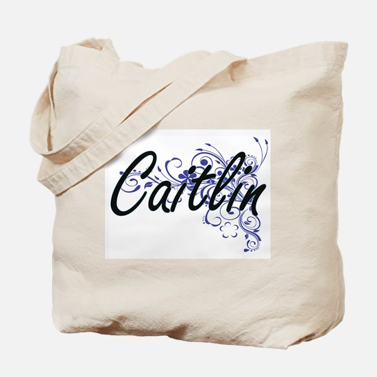 Caitlin Artistic Name Design with Flowers Tote Bag