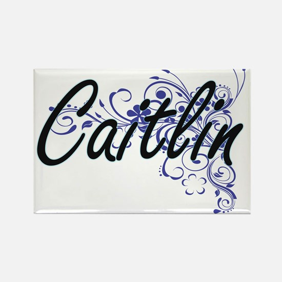 Caitlin Artistic Name Design with Flowers Magnets