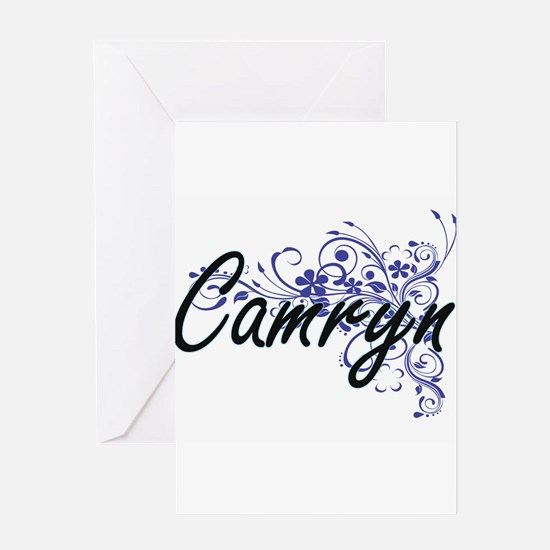 Camryn Artistic Name Design with Fl Greeting Cards