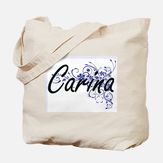 Carina Artistic Name Design with Flowers Tote Bag