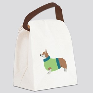 Corgi In Sweater Canvas Lunch Bag