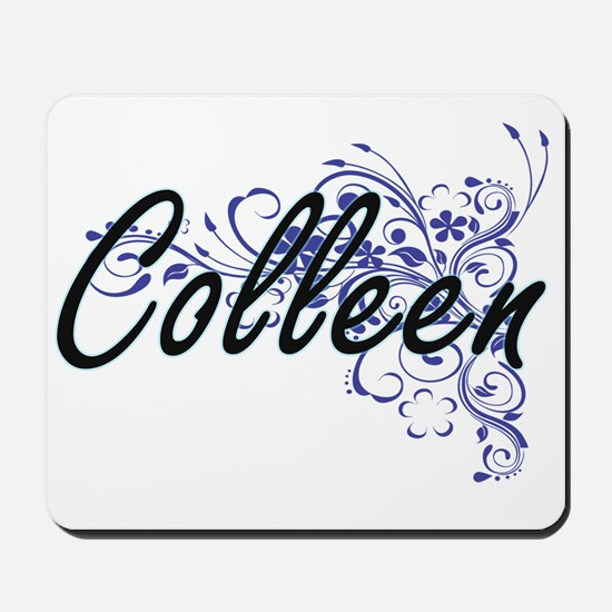 Colleen Artistic Name Design with Flower Mousepad