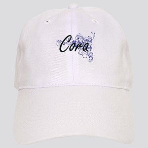 Cora Artistic Name Design with Flowers Cap