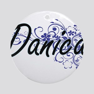 Danica Artistic Name Design with Fl Round Ornament