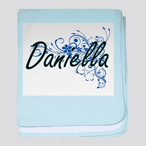 Daniella Artistic Name Design with Fl baby blanket