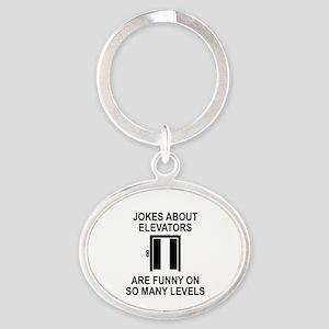 Jokes About Elevators Oval Keychain