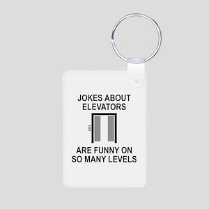 Jokes About Elevators Aluminum Photo Keychain