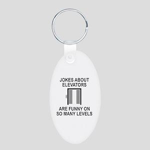 Jokes About Elevators Aluminum Oval Keychain