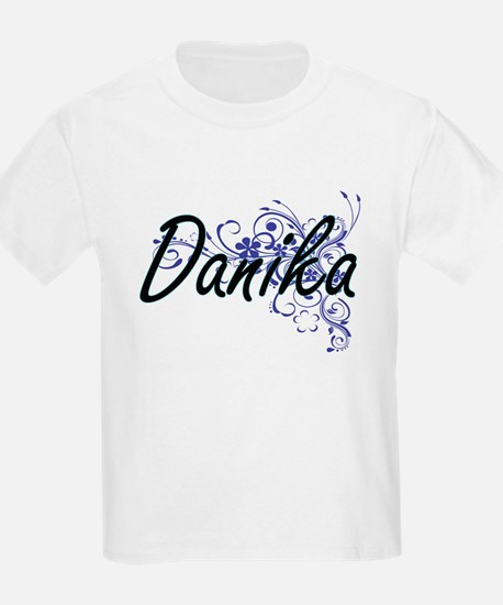 Danika Artistic Name Design with Flowers T-Shirt