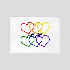 Love = Love Rainbow Hearts 5'x7'area Rug