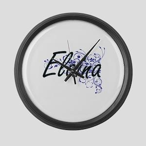 Elaina Artistic Name Design with Large Wall Clock
