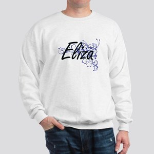 Eliza Artistic Name Design with Flowers Sweatshirt