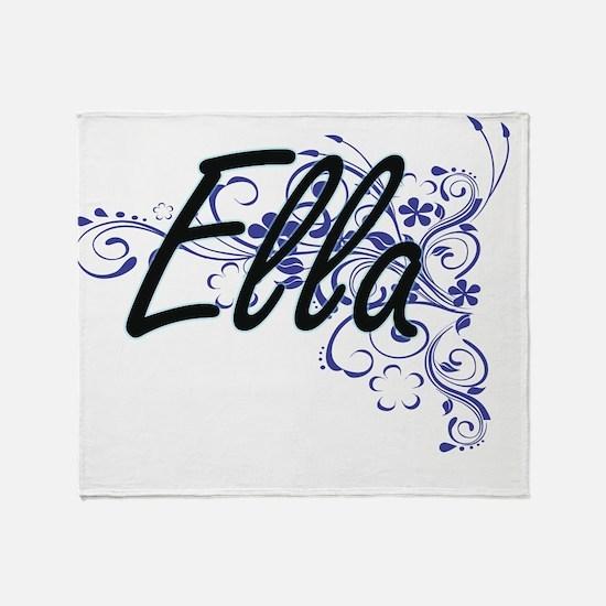 Ella Artistic Name Design with Flowe Throw Blanket
