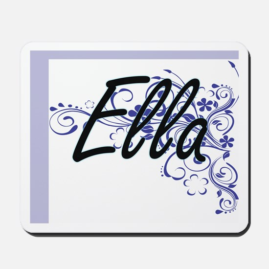 Ella Artistic Name Design with Flowers Mousepad