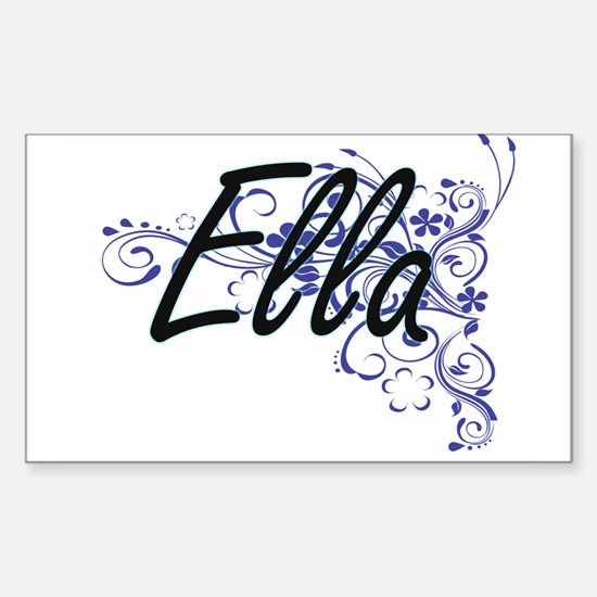 Ella Artistic Name Design with Flowers Decal