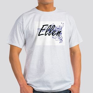 Ellen Artistic Name Design with Flowers T-Shirt