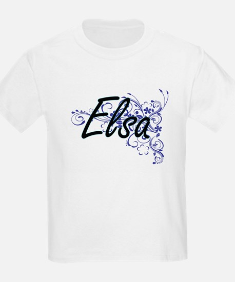Elsa Artistic Name Design with Flowers T-Shirt