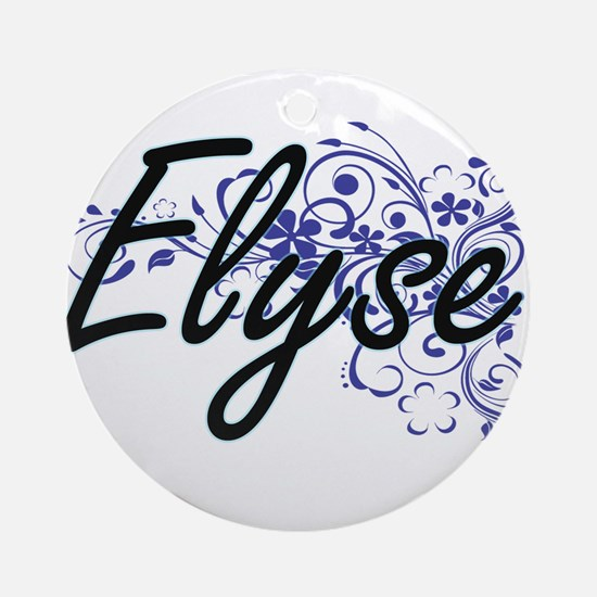 Elyse Artistic Name Design with Flo Round Ornament