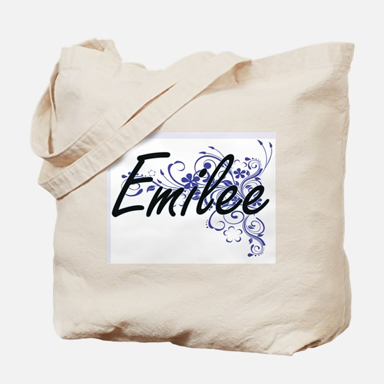 Emilee Artistic Name Design with Flowers Tote Bag