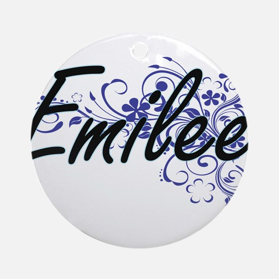 Emilee Artistic Name Design with Fl Round Ornament