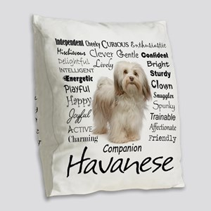 Havanese Traits Burlap Throw Pillow