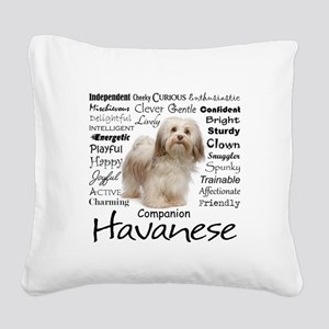 Havanese Traits Square Canvas Pillow