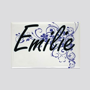 Emilie Artistic Name Design with Flowers Magnets