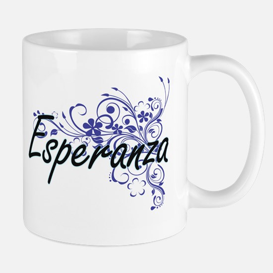 Esperanza Artistic Name Design with Flowers Mugs