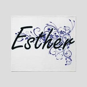 Esther Artistic Name Design with Flo Throw Blanket