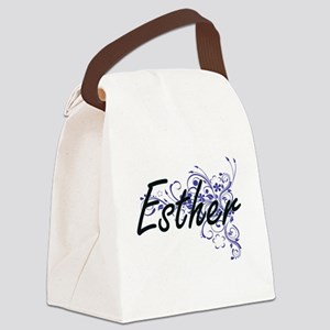 Esther Artistic Name Design with Canvas Lunch Bag