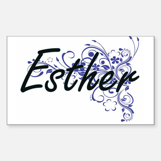 Esther Artistic Name Design with Flowers Decal
