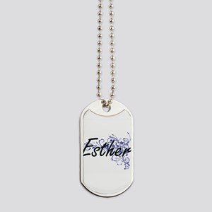 Esther Artistic Name Design with Flowers Dog Tags
