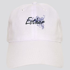Esther Artistic Name Design with Flowers Cap