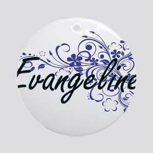 Evangeline Artistic Name Design wit Round Ornament