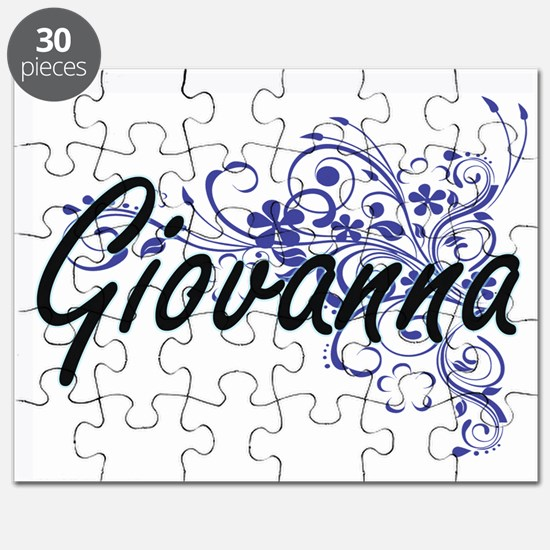 Giovanna Artistic Name Design with Flowers Puzzle
