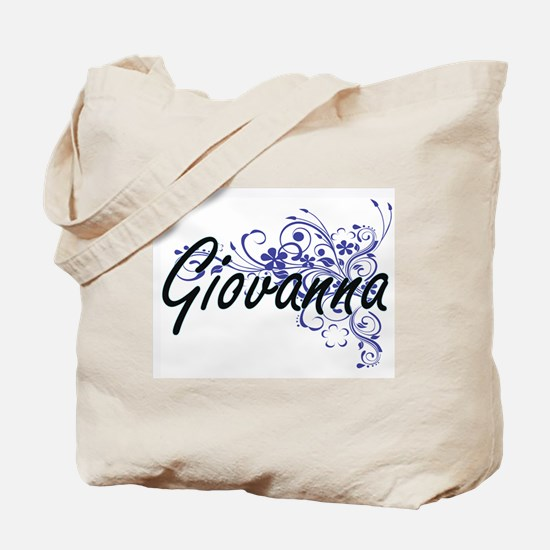 Giovanna Artistic Name Design with Flower Tote Bag