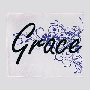 Grace Artistic Name Design with Flow Throw Blanket
