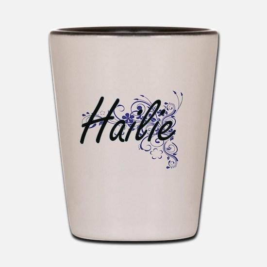 Hailie Artistic Name Design with Flower Shot Glass